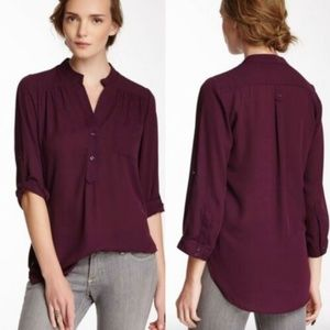 Pleione XS Solid Button Up Tab Sleeve Blouse Women